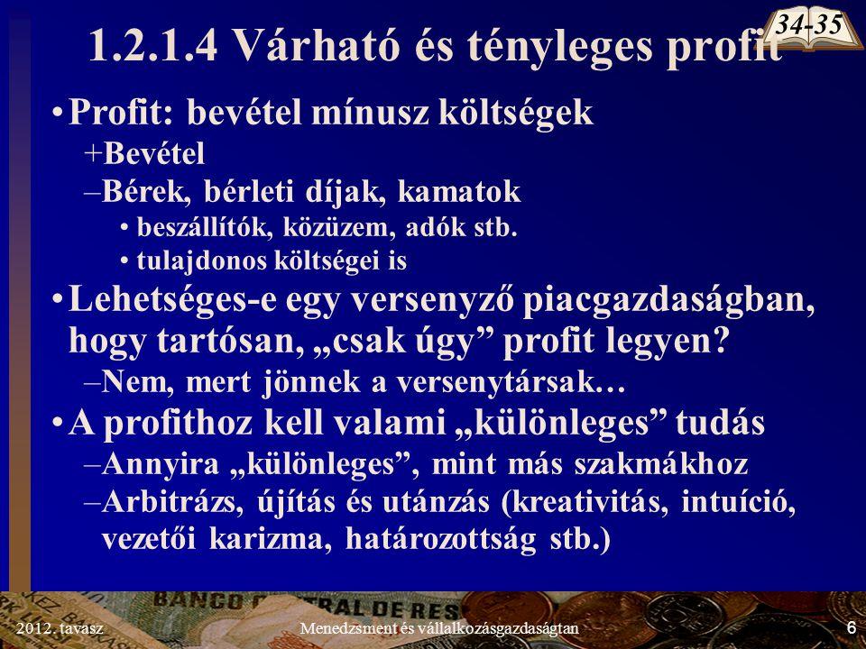 2012. tavasz27Menedzsment és vállalkozásgazdaságtan VC Q C