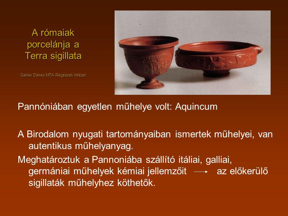 A rómaiak porcelánja a Terra sigillata Gabler Dénes MTA Régészeti Intézet Pannóniában egyetlen műhelye volt: Aquincum A Birodalom nyugati tartományaib