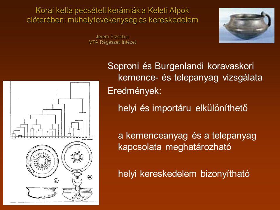Korai kelta pecsételt kerámiák a Keleti Alpok előterében: műhelytevékenység és kereskedelem Jerem Erzsébet MTA Régészeti Intézet Soproni és Burgenland