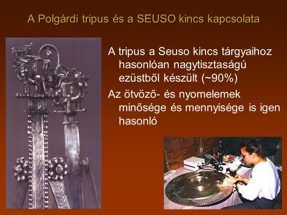 A Polgárdi tripus és a SEUSO kincs kapcsolata A tripus a Seuso kincs tárgyaihoz hasonlóan nagytisztaságú ezüstből készült (~90%) Az ötvöző- és nyomele