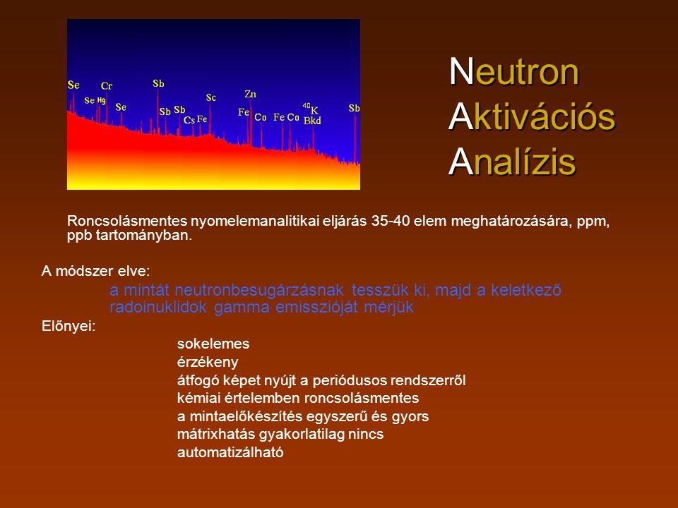 Roncsolásmentes nyomelemanalitikai eljárás 35-40 elem meghatározására, ppm, ppb tartományban. A módszer elve: a mintát neutronbesugárzásnak tesszük ki