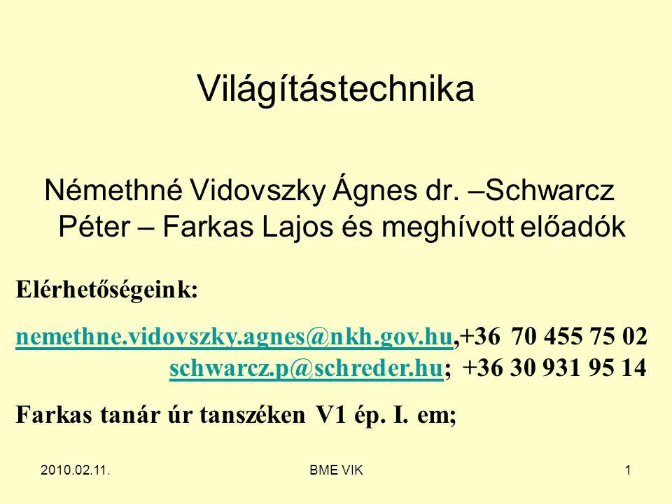 2010.02.11.BME VIK1 Világítástechnika Némethné Vidovszky Ágnes dr. –Schwarcz Péter – Farkas Lajos és meghívott előadók Elérhetőségeink: nemethne.vidov