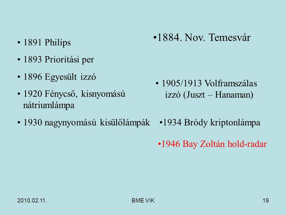 2010.02.11.BME VIK19 1891 Philips 1893 Prioritási per 1896 Egyesült izzó 1920 Fénycső, kisnyomású nátriumlámpa 1930 nagynyomású kisülőlámpák 1905/1913 Volframszálas izzó (Juszt – Hanaman) 1934 Bródy kriptonlámpa 1946 Bay Zoltán hold-radar 1884.