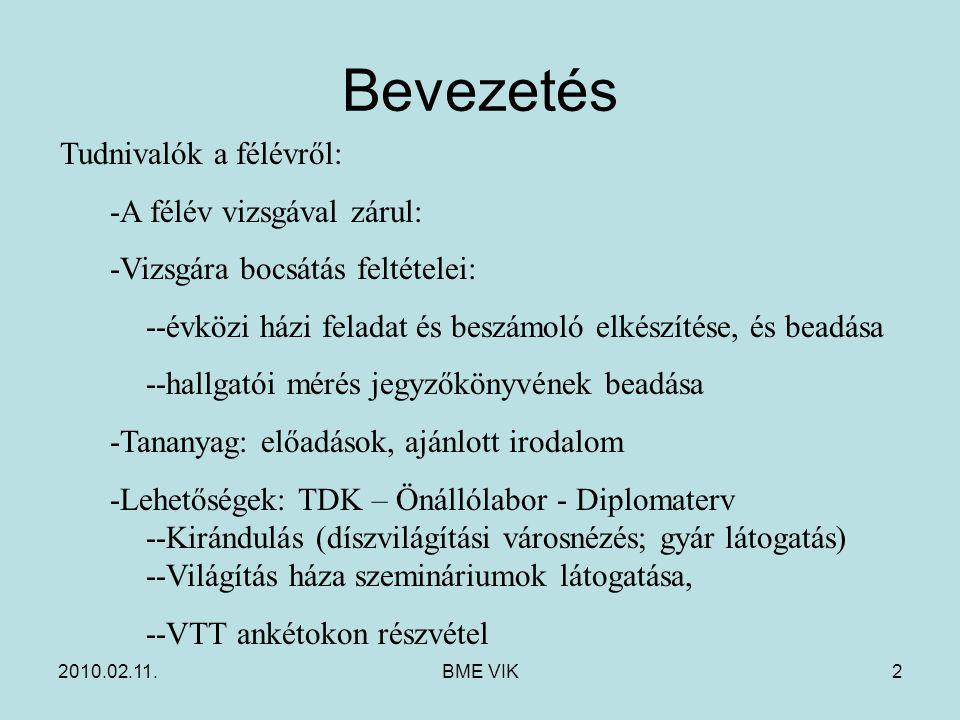 2010.02.11.BME VIK2 Bevezetés Tudnivalók a félévről: -A félév vizsgával zárul: -Vizsgára bocsátás feltételei: --évközi házi feladat és beszámoló elkés