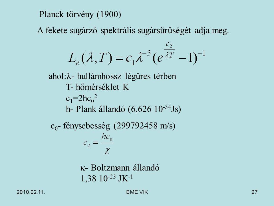 2010.02.11.BME VIK27 Planck törvény (1900) A fekete sugárzó spektrális sugársűrűségét adja meg. ahol: - hullámhossz légüres térben T- hőmérséklet K c