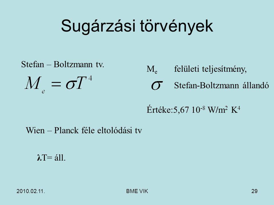 2010.02.11.BME VIK29 Sugárzási törvények Stefan – Boltzmann tv. M e felületi teljesítmény, Stefan-Boltzmann állandó Értéke:5,67 10 -8 W/m 2 K 4 Wien –