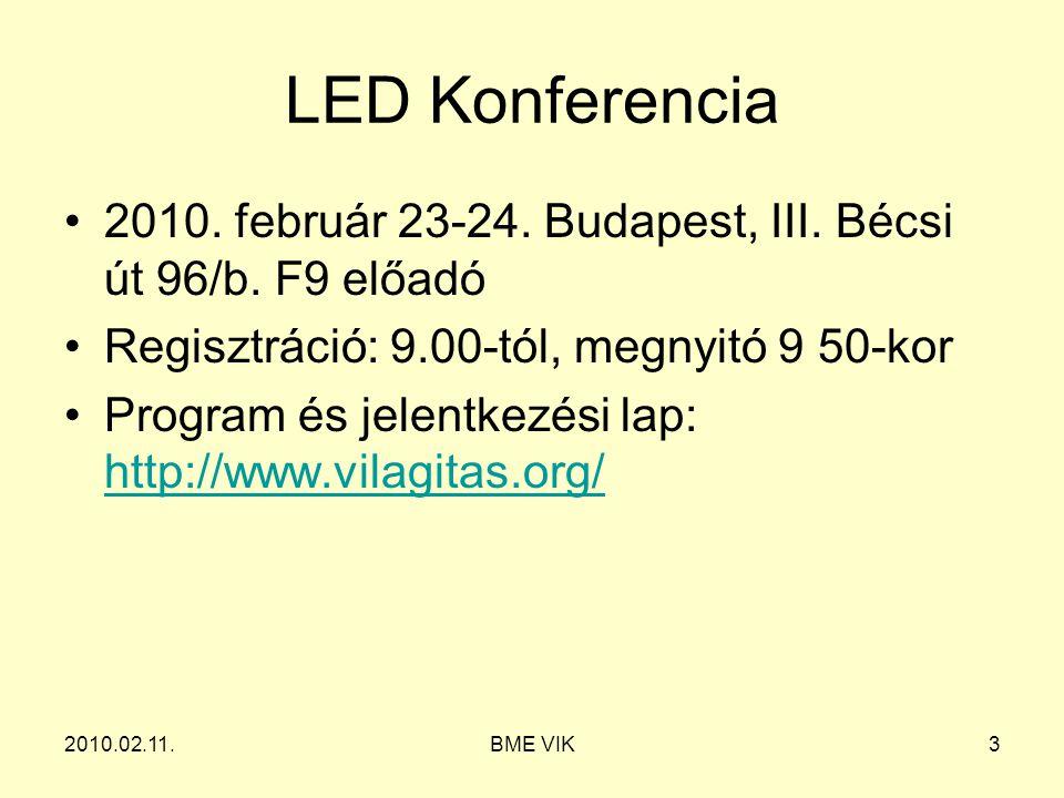 2010.02.11.BME VIK3 LED Konferencia 2010. február 23-24. Budapest, III. Bécsi út 96/b. F9 előadó Regisztráció: 9.00-tól, megnyitó 9 50-kor Program és