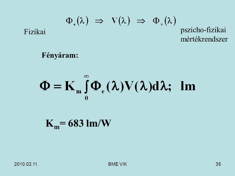 2010.02.11.BME VIK35 Fényáram: pszicho-fizikai mértékrendszer K m = 683 lm/W Fizikai