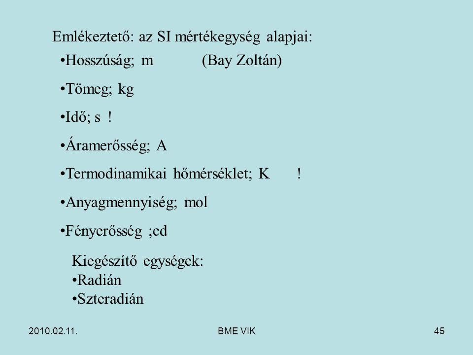 2010.02.11.BME VIK45 Emlékeztető: az SI mértékegység alapjai: Hosszúság; m(Bay Zoltán) Tömeg; kg Idő; s.