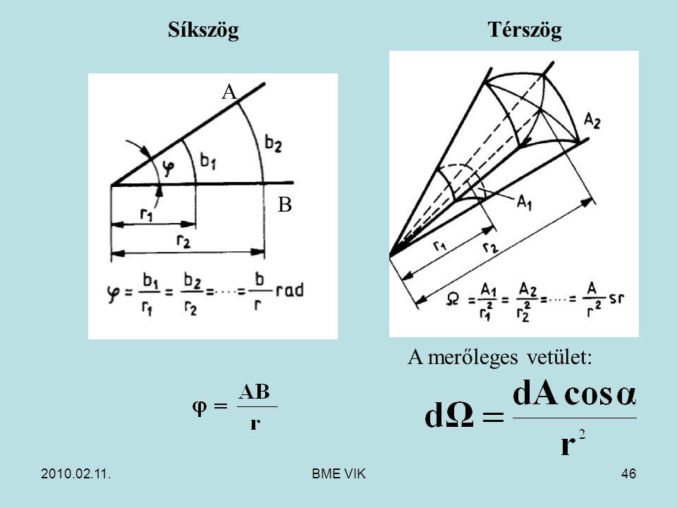 2010.02.11.BME VIK46 Térszög A merőleges vetület: Síkszög A B