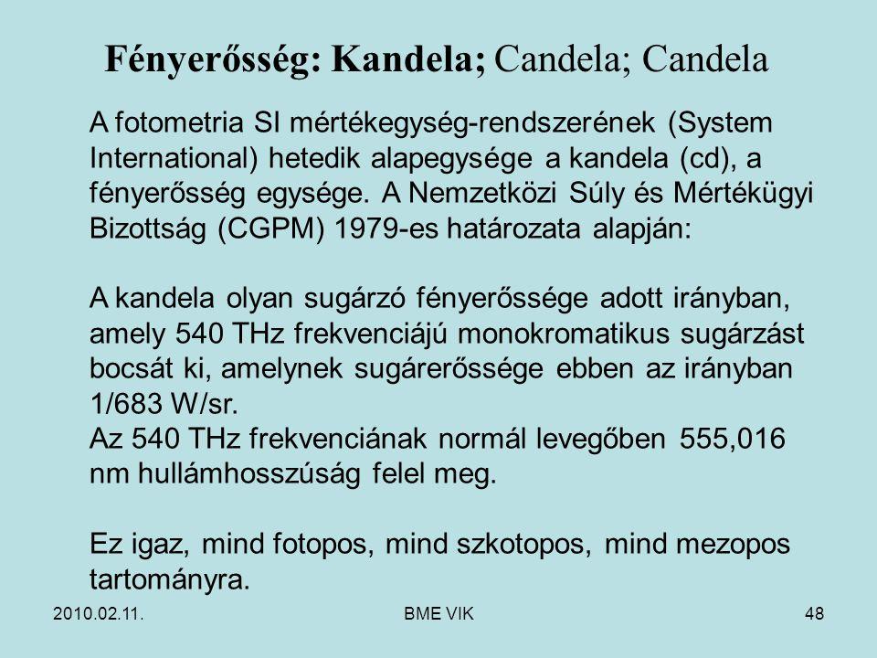 2010.02.11.BME VIK48 A fotometria SI mértékegység-rendszerének (System International) hetedik alapegysége a kandela (cd), a fényerősség egysége. A Nem