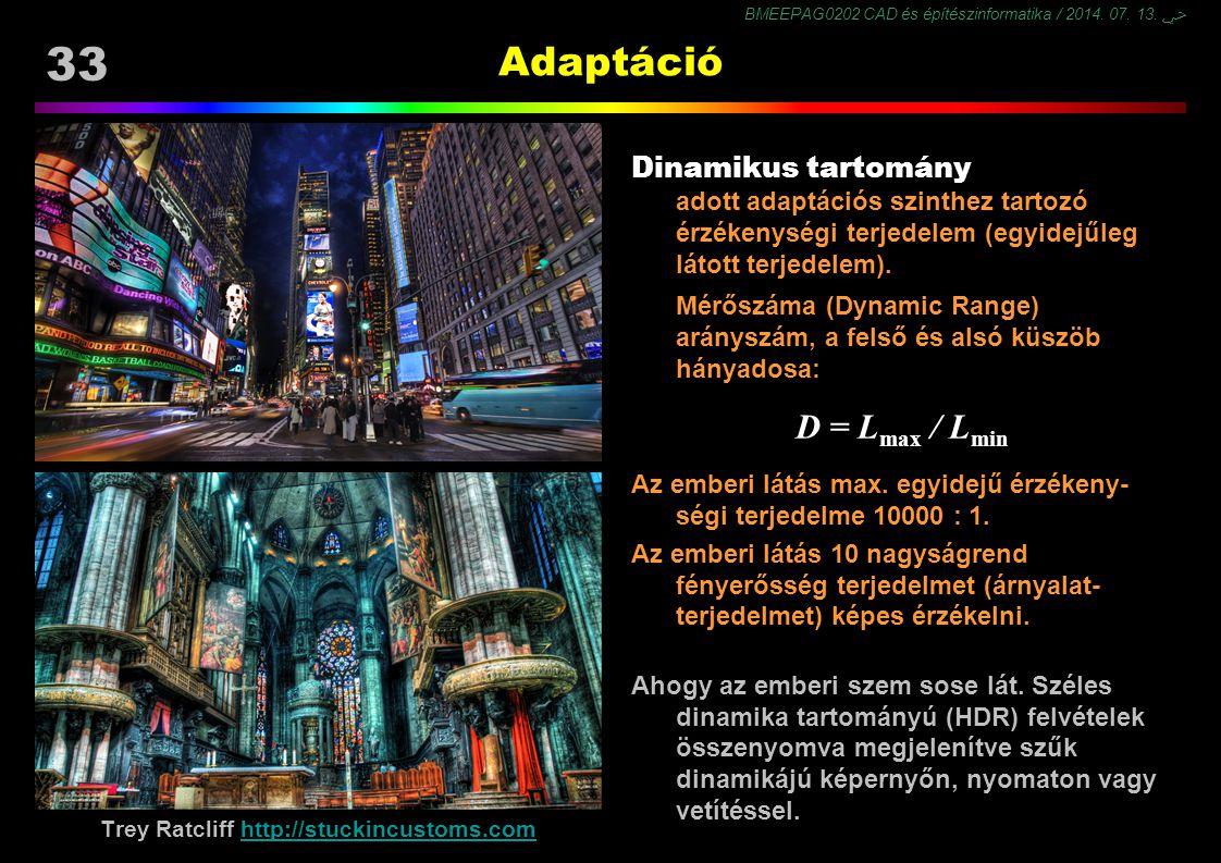 BMEEPAG0202 CAD és építészinformatika / 2014. 07. 13. ﴀ 33 Adaptáció Dinamikus tartomány adott adaptációs szinthez tartozó érzékenységi terjedelem (eg