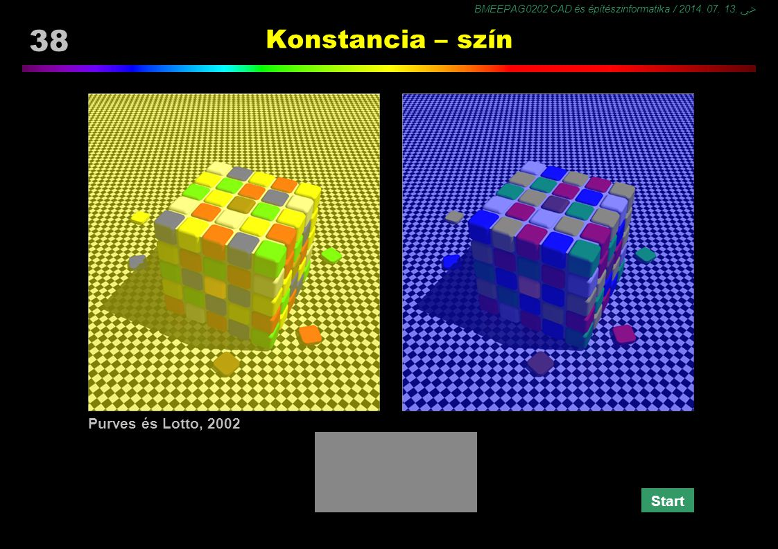 BMEEPAG0202 CAD és építészinformatika / 2014. 07. 13. ﴀ 38 Konstancia – szín Purves és Lotto, 2002 Start