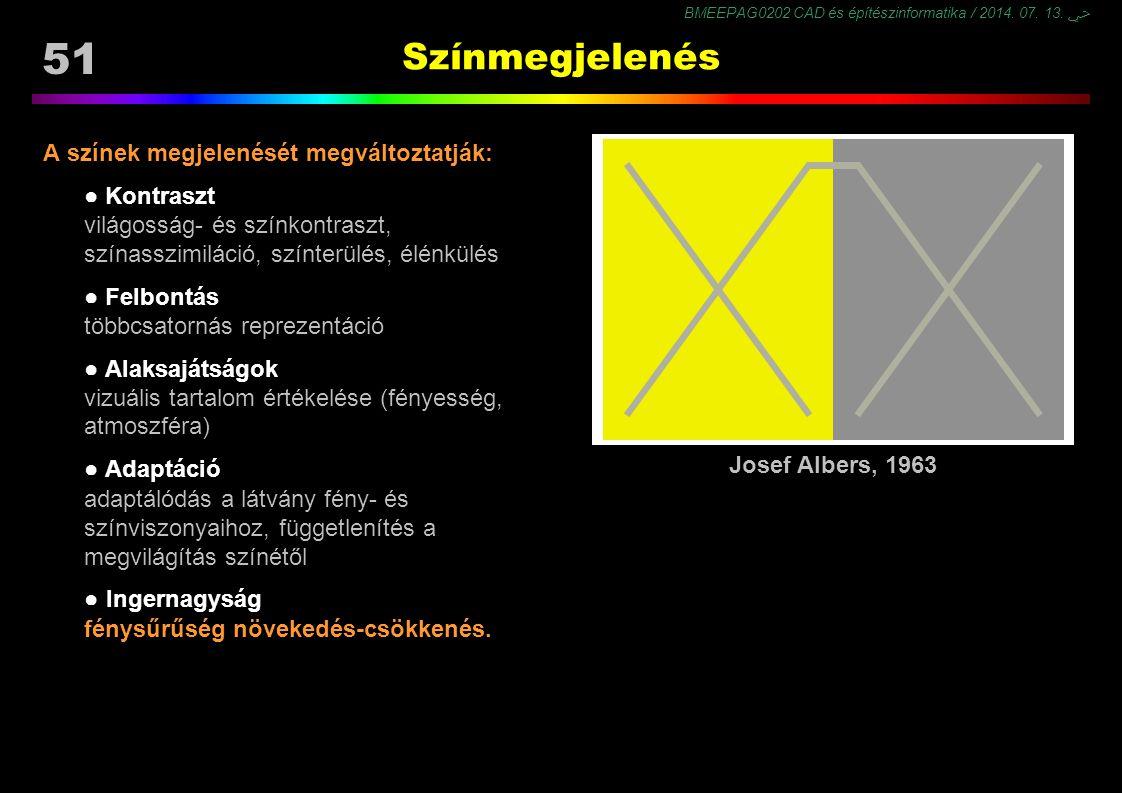 BMEEPAG0202 CAD és építészinformatika / 2014. 07. 13. ﴀ 51 Színmegjelenés A színek megjelenését megváltoztatják: ● Kontraszt világosság- és színkontra