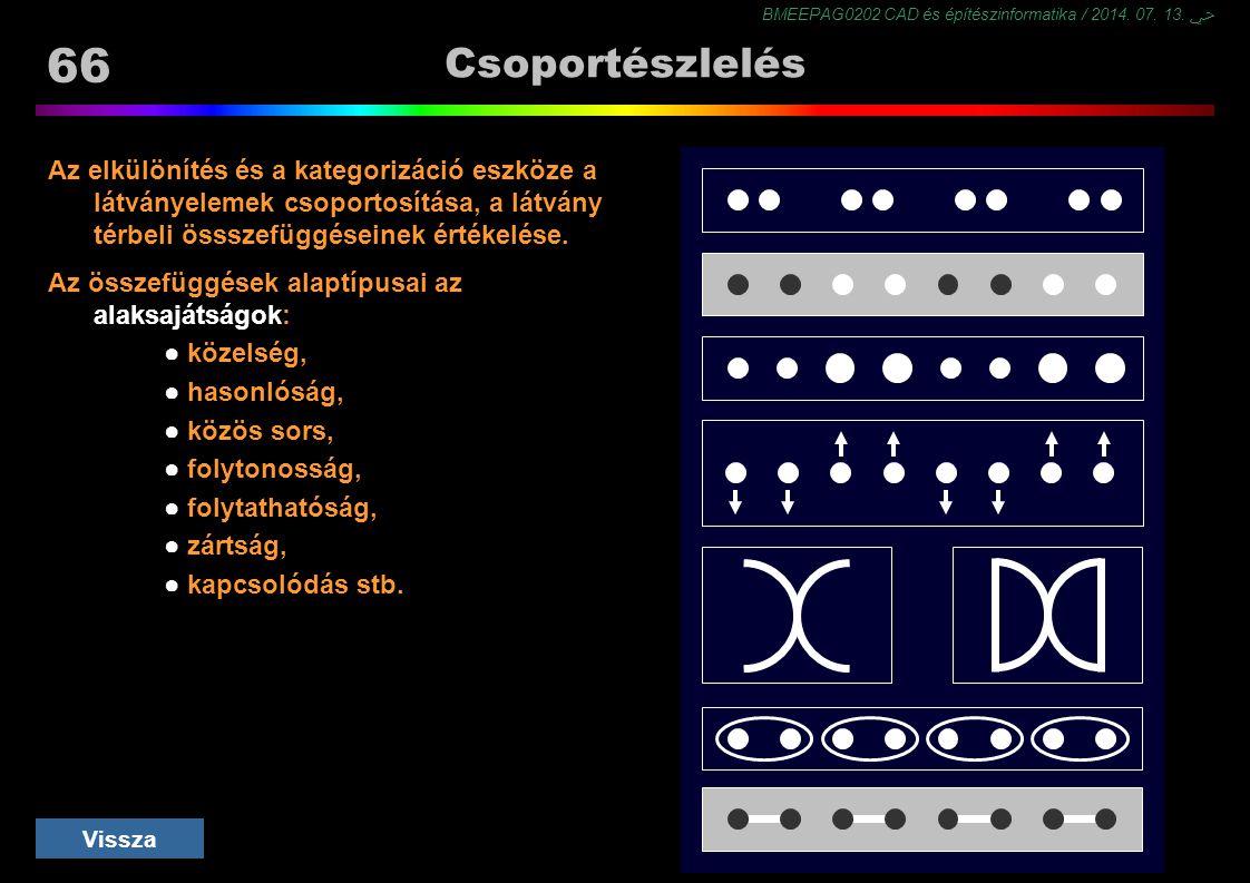 BMEEPAG0202 CAD és építészinformatika / 2014. 07. 13. ﴀ 66 Csoportészlelés Az elkülönítés és a kategorizáció eszköze a látványelemek csoportosítása, a