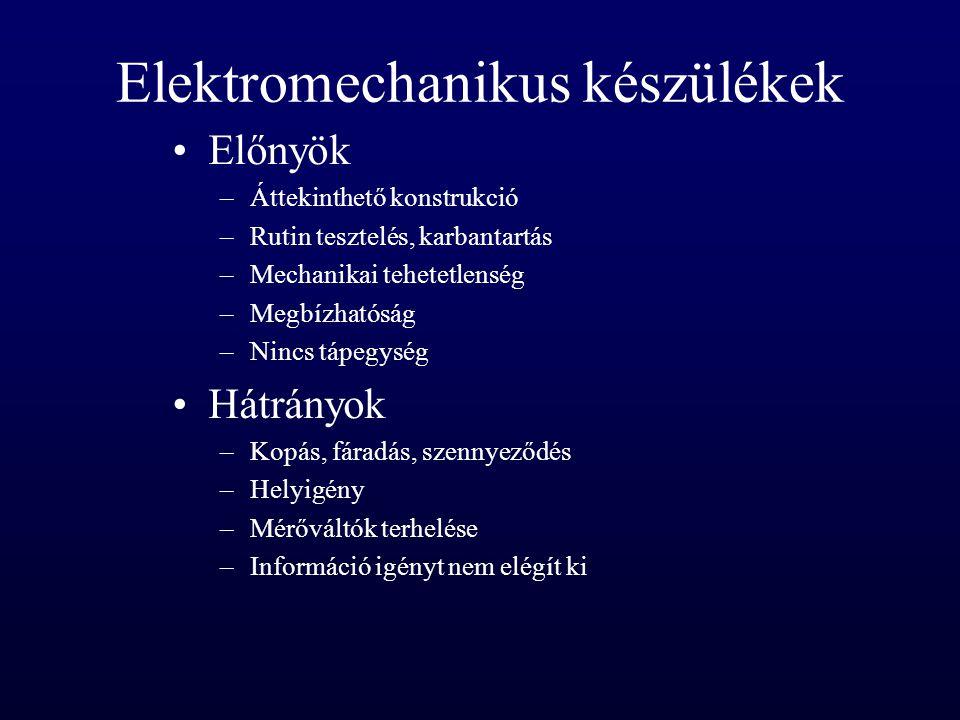 Elektromechanikus készülékek Előnyök –Áttekinthető konstrukció –Rutin tesztelés, karbantartás –Mechanikai tehetetlenség –Megbízhatóság –Nincs tápegysé