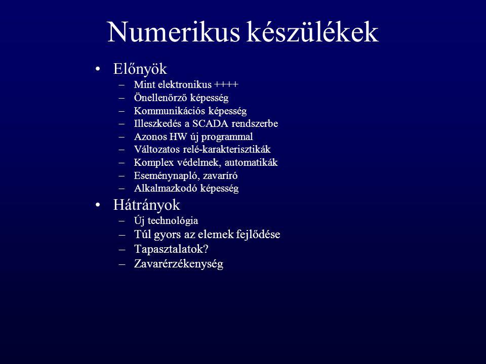 Numerikus készülékek Előnyök –Mint elektronikus ++++ –Önellenőrző képesség –Kommunikációs képesség –Illeszkedés a SCADA rendszerbe –Azonos HW új progr