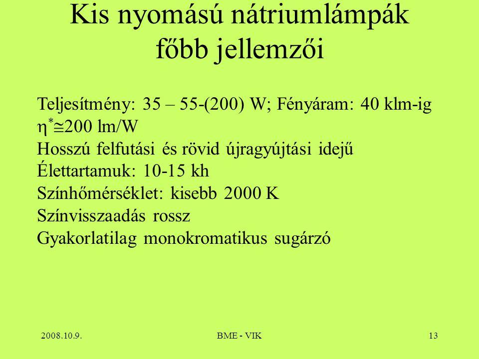 2008.10.9.BME - VIK13 Kis nyomású nátriumlámpák főbb jellemzői Teljesítmény: 35 – 55-(200) W; Fényáram: 40 klm-ig  *  200 lm/W Hosszú felfutási és r
