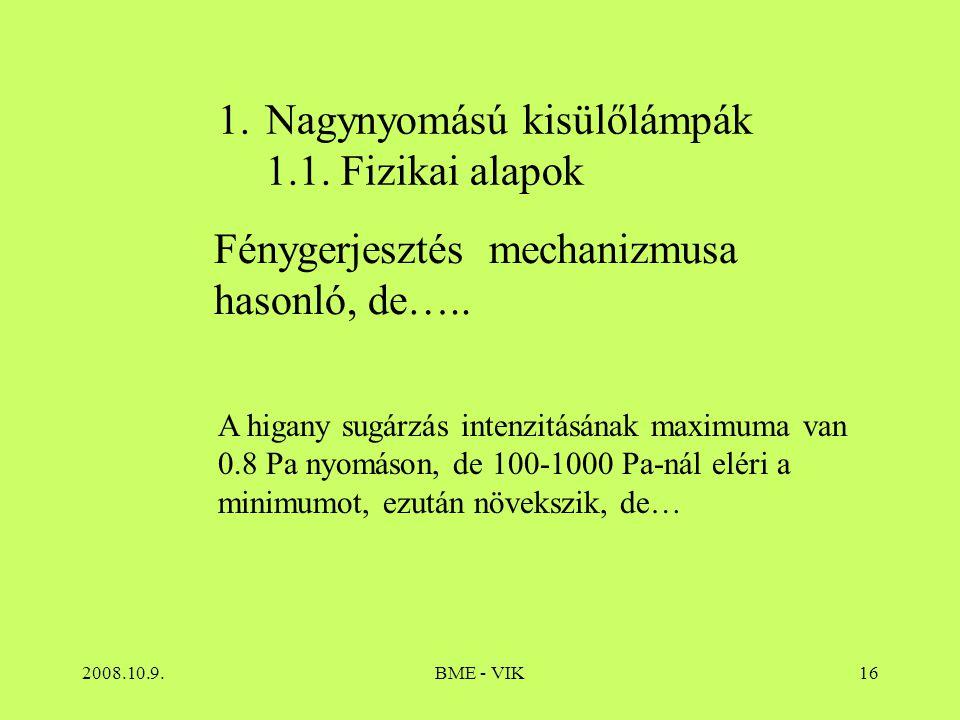 2008.10.9.BME - VIK16 1.Nagynyomású kisülőlámpák 1.1. Fizikai alapok Fénygerjesztés mechanizmusa hasonló, de….. A higany sugárzás intenzitásának maxim