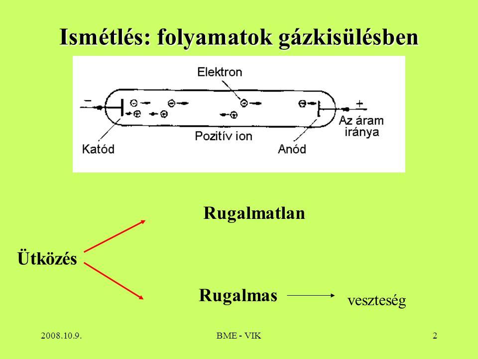 2008.10.9.BME - VIK3 A gáztérben a kozmikus sugárzás hatására jelen lévő töltéshordozók a feszültség hatására az elektródákhoz jutnak Nem önfenntartó kisülés  áramerősség növelésével  ionizációk száma nő  önfenntartó kisülés  áramkorlátozás Megfelelő előtét esetén egyensúlyi állapot A cső hossztengelyének legnagyobb részén az elektron és pozitív ion koncentráció közel azonos, kifelé semleges  Plazma állapot A plazmában lévő gerjesztett és ionizált gázrészecskék alapállapotba visszatérve fotont emittálnak.