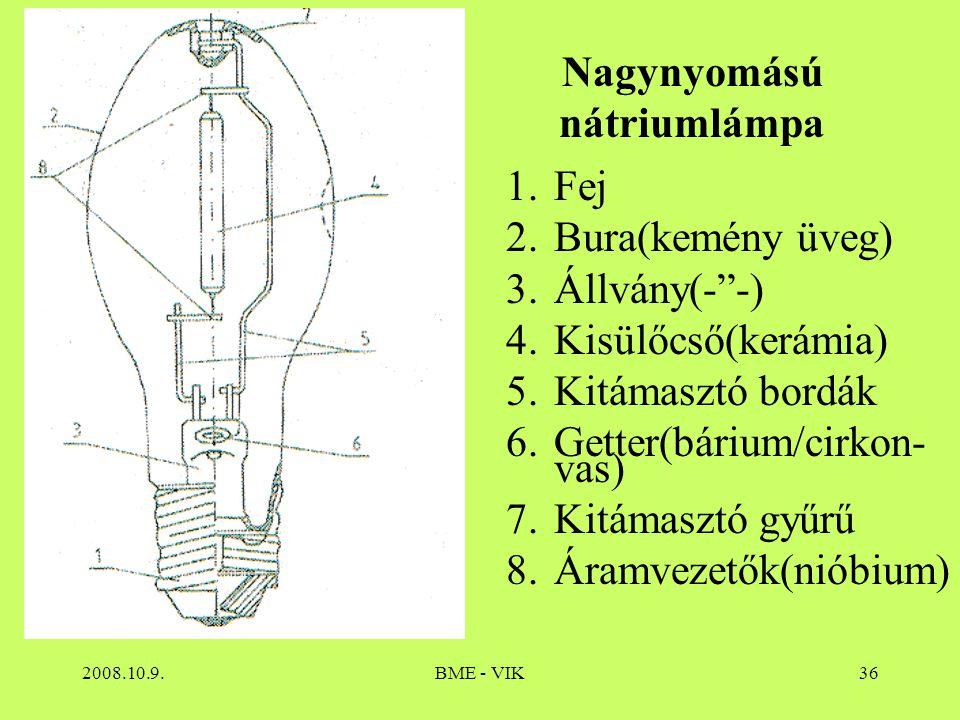 """2008.10.9.BME - VIK36 Nagynyomású nátriumlámpa 1.Fej 2.Bura(kemény üveg) 3.Állvány(-""""-) 4.Kisülőcső(kerámia) 5.Kitámasztó bordák 6.Getter(bárium/cirko"""