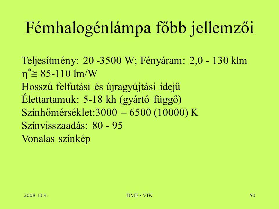 2008.10.9.BME - VIK50 Fémhalogénlámpa főbb jellemzői Teljesítmény: 20 -3500 W; Fényáram: 2,0 - 130 klm  *  85-110 lm/W Hosszú felfutási és újragyújt