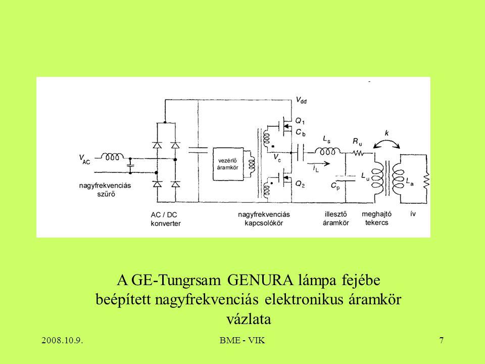 2008.10.9.BME - VIK8 Indukcióslámpák főbb jellemzői Teljesítmény; Fényáram: gyártó függő, kevés típus  *  30-50 lm/W Hosszú felfutási és újragyújtási idejű Élettartamuk: gyártó függő 60kh is lehet Színhőmérséklet: S Színvisszaadás (fénypor függő) jó Vonalas színkép