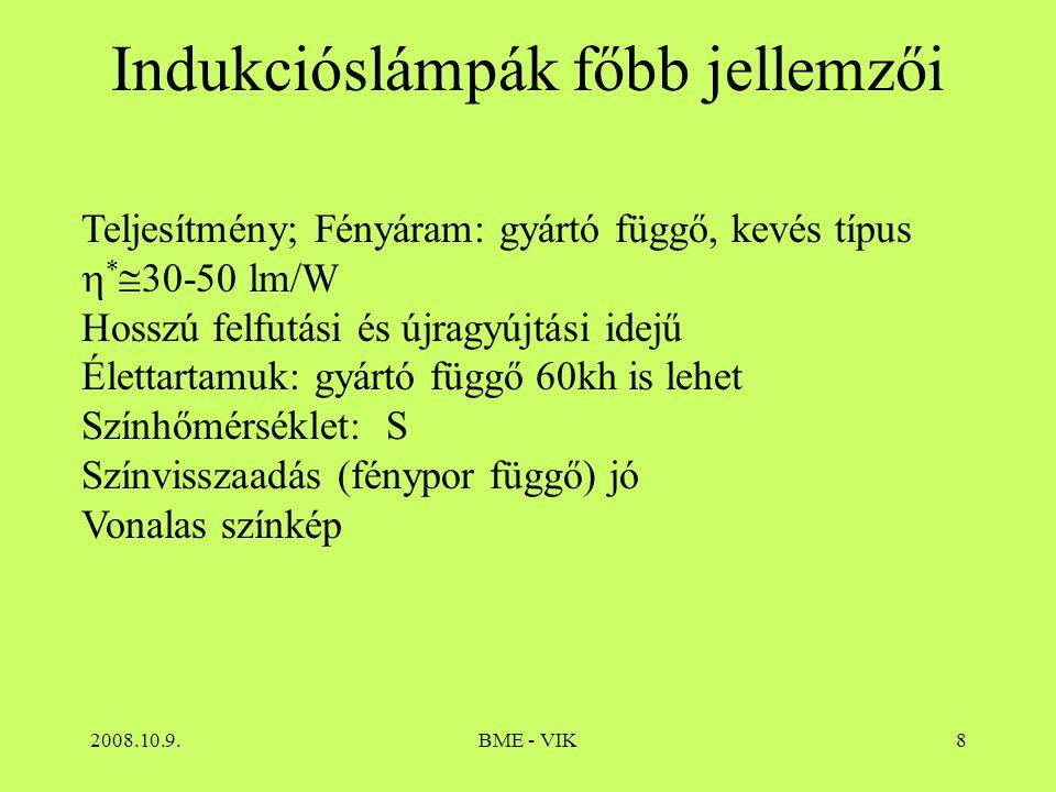 2008.10.9.BME - VIK8 Indukcióslámpák főbb jellemzői Teljesítmény; Fényáram: gyártó függő, kevés típus  *  30-50 lm/W Hosszú felfutási és újragyújtás