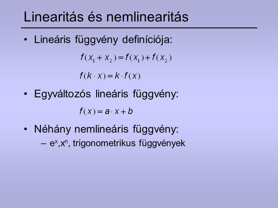 Linearitás és nemlinearitás Lineáris függvény definíciója: Egyváltozós lineáris függvény: Néhány nemlineáris függvény: –e x,x n, trigonometrikus függv
