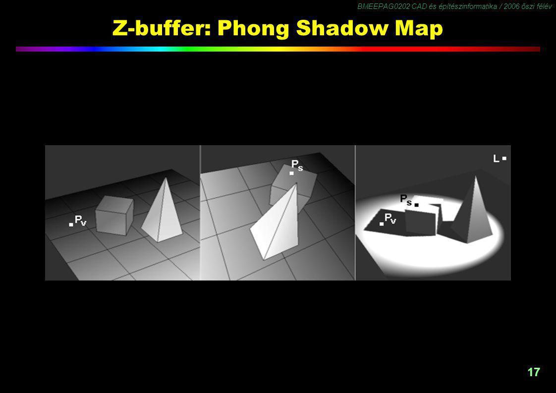 BMEEPAG0202 CAD és építészinformatika / 2006 őszi félév 17 Z-buffer: Phong Shadow Map