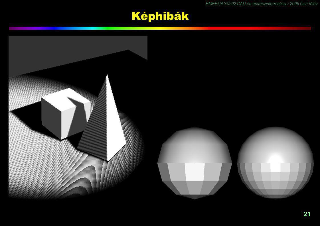 BMEEPAG0202 CAD és építészinformatika / 2006 őszi félév 21 Képhibák