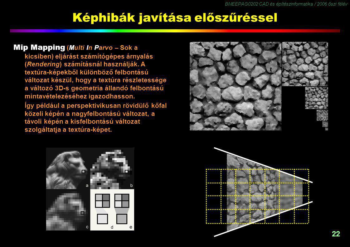 BMEEPAG0202 CAD és építészinformatika / 2006 őszi félév 22 Képhibák javítása előszűréssel Mip Mapping (Multi In Parvo – Sok a kicsiben) eljárást számítógépes árnyalás (Rendering) számításnál használják.