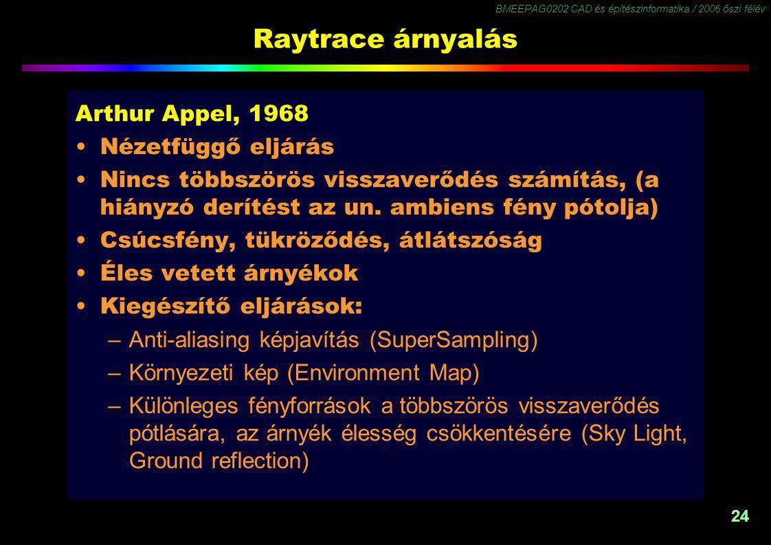 BMEEPAG0202 CAD és építészinformatika / 2006 őszi félév 24 Raytrace árnyalás Arthur Appel, 1968 Nézetfüggő eljárás Nincs többszörös visszaverődés számítás, (a hiányzó derítést az un.