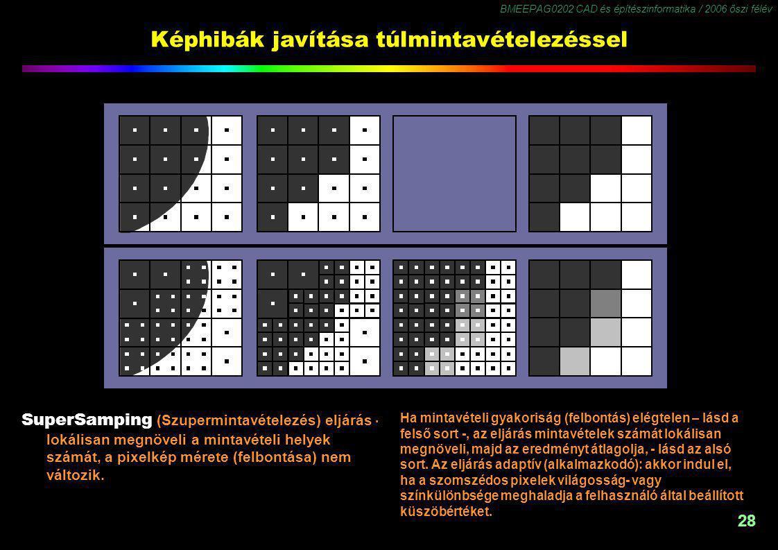 BMEEPAG0202 CAD és építészinformatika / 2006 őszi félév 28 Képhibák javítása túlmintavételezéssel SuperSamping (Szupermintavételezés) eljárás lokálisan megnöveli a mintavételi helyek számát, a pixelkép mérete (felbontása) nem változik..