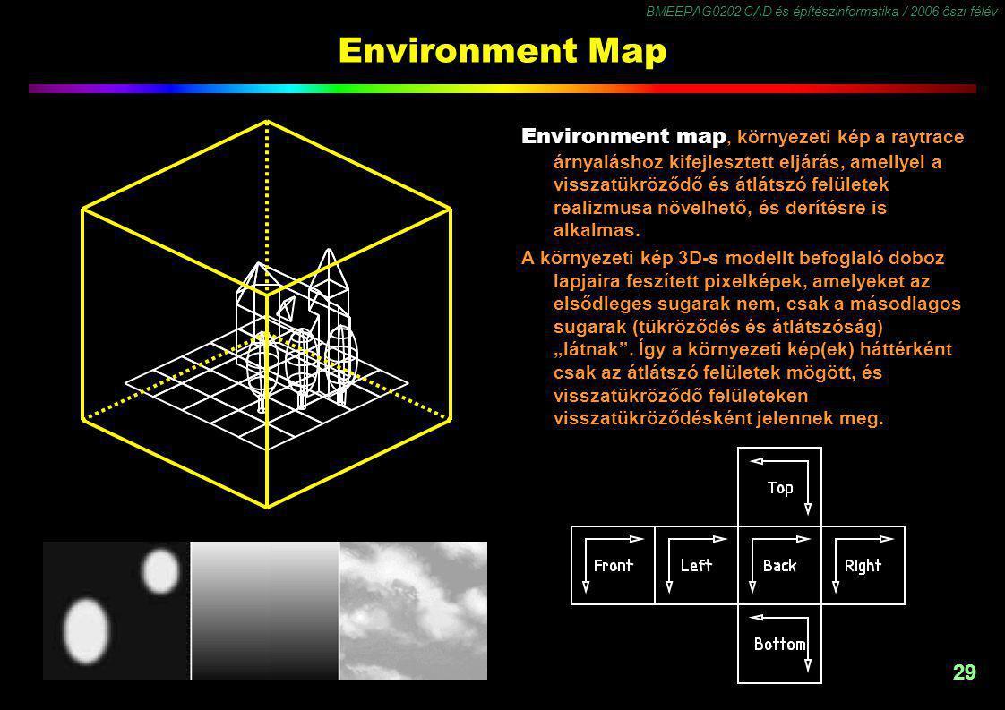BMEEPAG0202 CAD és építészinformatika / 2006 őszi félév 29 Environment Map Environment map, környezeti kép a raytrace árnyaláshoz kifejlesztett eljárás, amellyel a visszatükröződő és átlátszó felületek realizmusa növelhető, és derítésre is alkalmas.