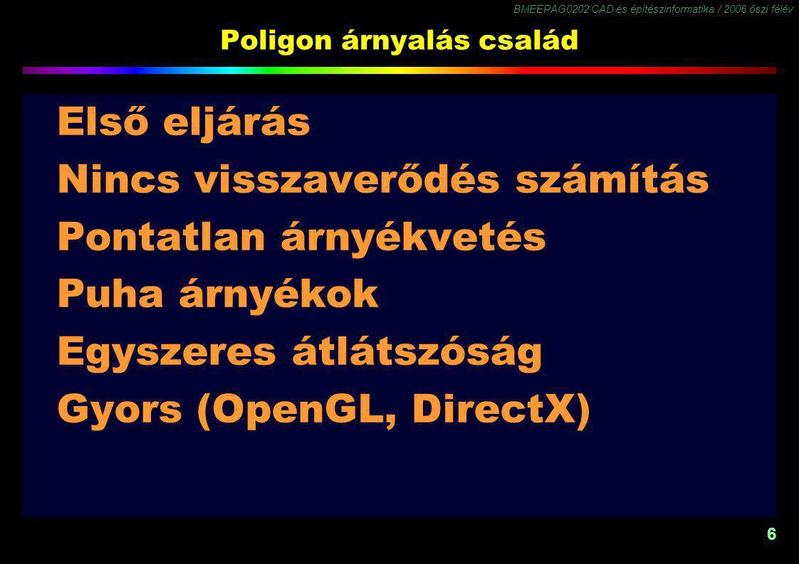 BMEEPAG0202 CAD és építészinformatika / 2006 őszi félév 6 Poligon árnyalás család Első eljárás Nincs visszaverődés számítás Pontatlan árnyékvetés Puha árnyékok Egyszeres átlátszóság Gyors (OpenGL, DirectX)