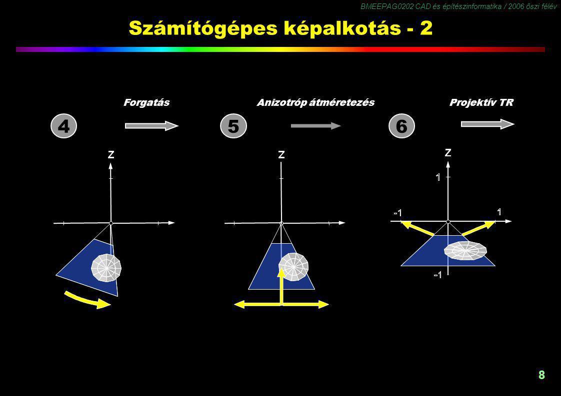 BMEEPAG0202 CAD és építészinformatika / 2006 őszi félév 8 Számítógépes képalkotás - 2 ForgatásAnizotróp átméretezésProjektív TR