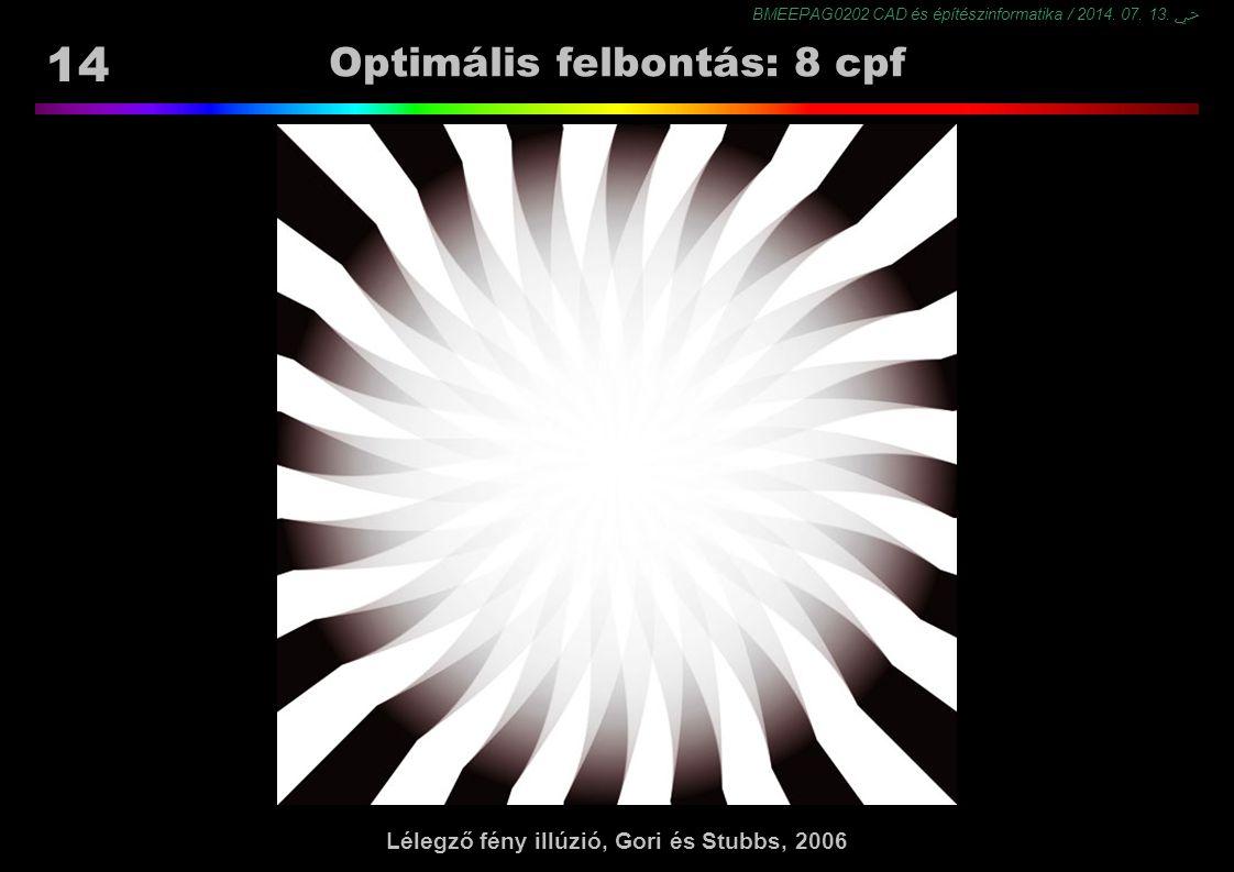 BMEEPAG0202 CAD és építészinformatika / 2014. 07. 13. ﴀ 14 Optimális felbontás: 8 cpf Lélegző fény illúzió, Gori és Stubbs, 2006