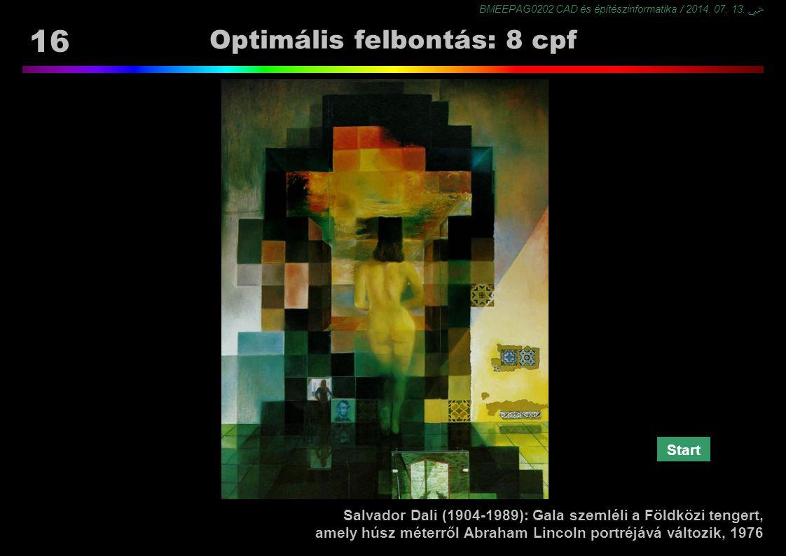BMEEPAG0202 CAD és építészinformatika / 2014. 07. 13. ﴀ 16 Optimális felbontás: 8 cpf Salvador Dali (1904-1989): Gala szemléli a Földközi tengert, ame