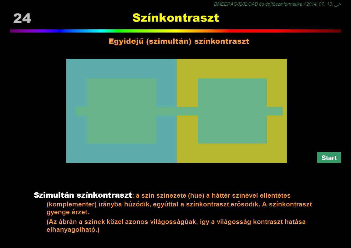 BMEEPAG0202 CAD és építészinformatika / 2014. 07. 13. ﴀ 24 Színkontraszt Egyidejű (szimultán) színkontraszt Szimultán színkontraszt : a szín színezete