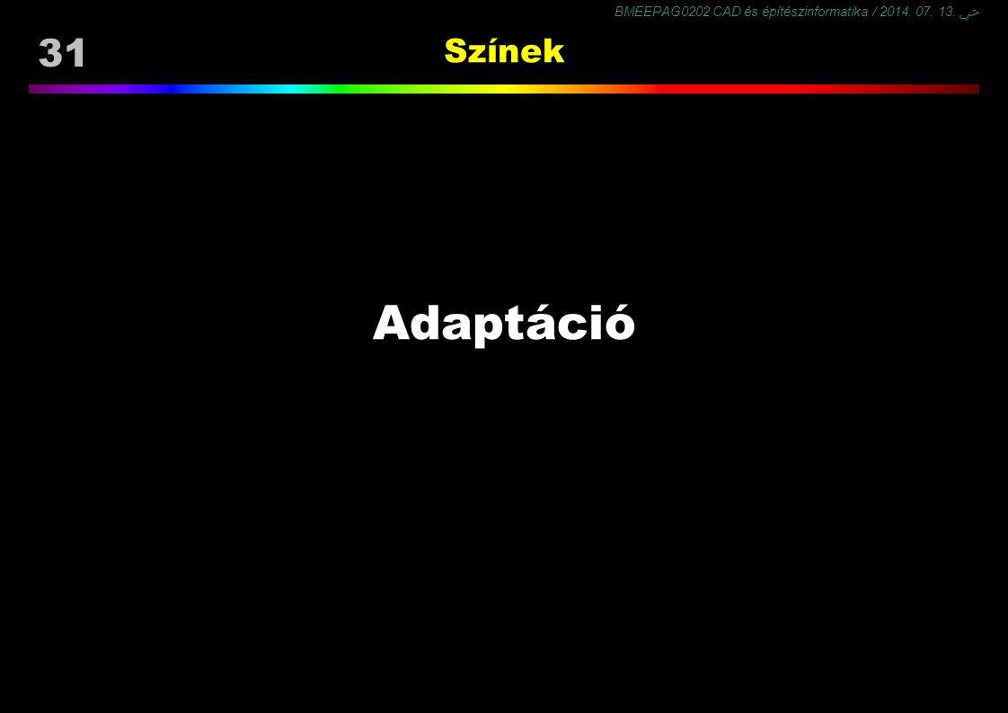 BMEEPAG0202 CAD és építészinformatika / 2014. 07. 13. ﴀ 31 Színek Adaptáció