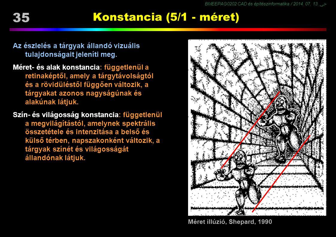 BMEEPAG0202 CAD és építészinformatika / 2014. 07. 13. ﴀ 35 Konstancia (5/1 - méret) Az észlelés a tárgyak állandó vizuális tulajdonságait jeleníti meg