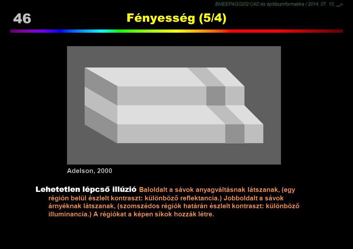 BMEEPAG0202 CAD és építészinformatika / 2014. 07. 13. ﴀ 46 Fényesség (5/4) Lehetetlen lépcső illúzió Baloldalt a sávok anyagváltásnak látszanak, (egy