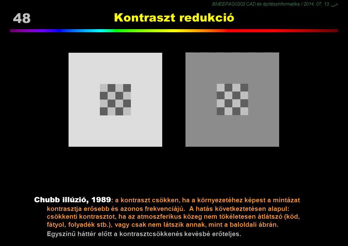 BMEEPAG0202 CAD és építészinformatika / 2014. 07. 13. ﴀ 48 Kontraszt redukció Chubb illúzió, 1989 : a kontraszt csökken, ha a környezetéhez képest a m