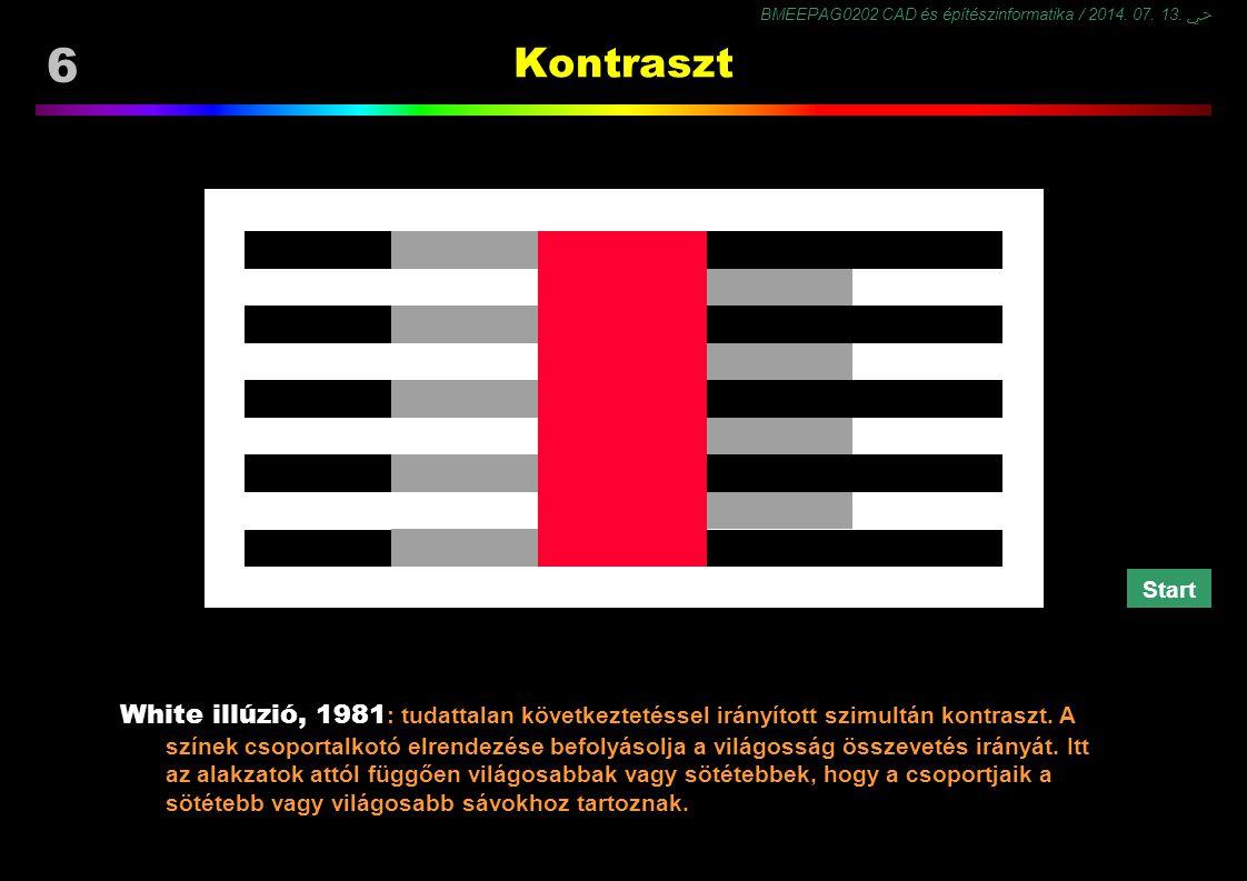 BMEEPAG0202 CAD és építészinformatika / 2014. 07. 13. ﴀ 6 Kontraszt White illúzió, 1981 : tudattalan következtetéssel irányított szimultán kontraszt.