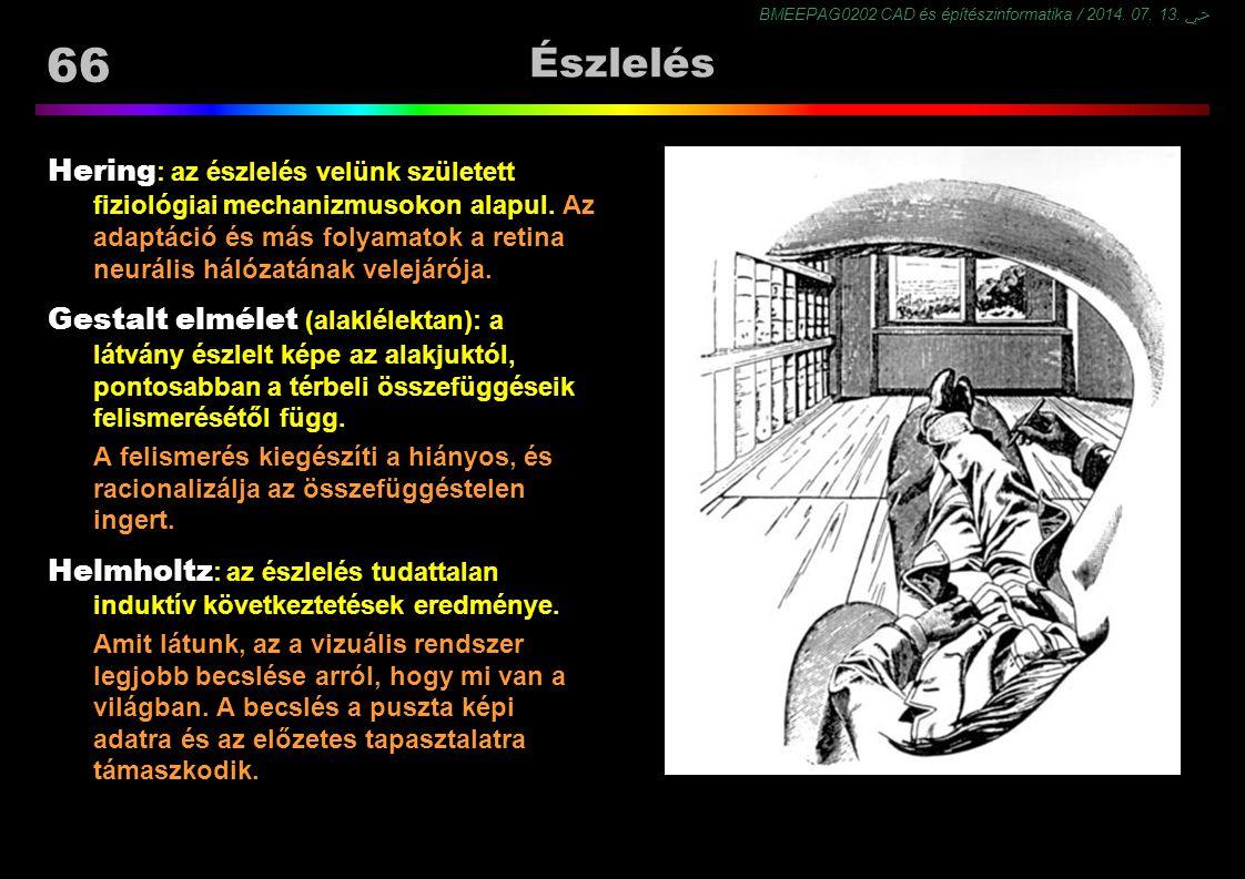 BMEEPAG0202 CAD és építészinformatika / 2014. 07. 13. ﴀ 66 Észlelés Hering : az észlelés velünk született fiziológiai mechanizmusokon alapul. Az adapt