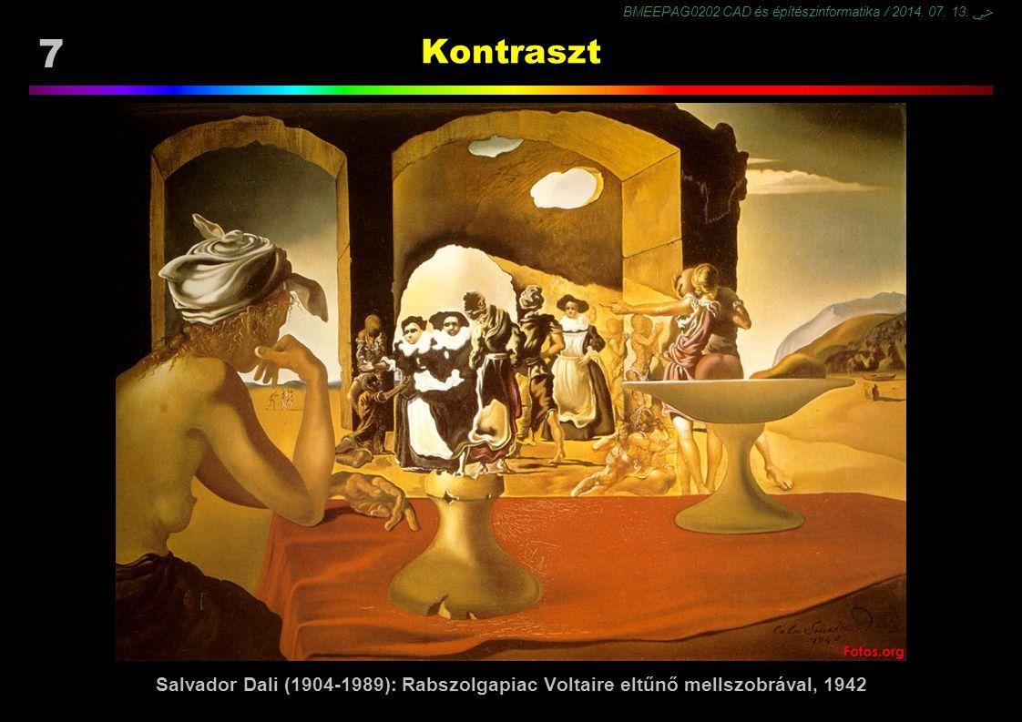 BMEEPAG0202 CAD és építészinformatika / 2014. 07. 13. ﴀ 7 Kontraszt Salvador Dali (1904-1989): Rabszolgapiac Voltaire eltűnő mellszobrával, 1942