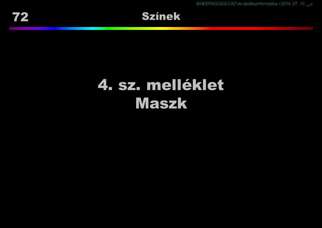 BMEEPAG0202 CAD és építészinformatika / 2014. 07. 13. ﴀ 72 Színek 4. sz. melléklet Maszk