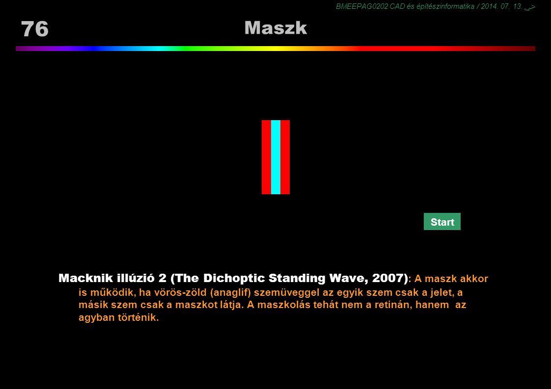 BMEEPAG0202 CAD és építészinformatika / 2014. 07. 13. ﴀ 76 Maszk Macknik illúzió 2 (The Dichoptic Standing Wave, 2007) : A maszk akkor is működik, ha