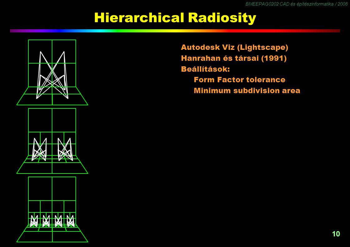 BMEEPAG0202 CAD és építészinformatika / 2008 10 Hierarchical Radiosity Autodesk Viz (Lightscape) Hanrahan és társai (1991) Beállítások: Form Factor to
